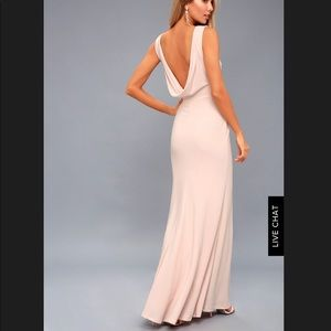 Lulu's Dresses - Lulus blush drape back evening maxi dress small